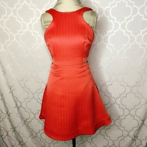 Club Monaco Coral Fit Flare Cut Out Dress